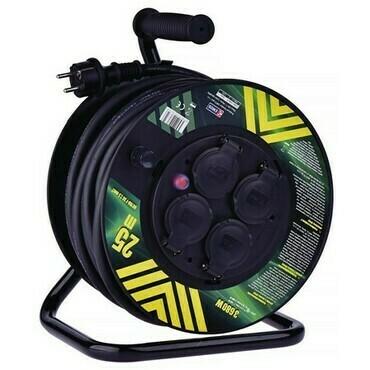 Kabel prodlužovací, pryž, buben 3×2,5mm2 230V 4 zásuvky 25m