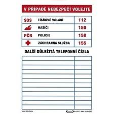 Tabule informační Tabulka důležitých telefonních čísel A4