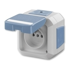Zásuvka jednonásobná bezšroubová s víčkem, s popisovým polem, pro průběžnou montáž Variant modrá