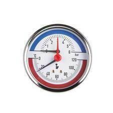 Termomanometr průměr 80 mm , zadní 0-120°C , 0-4 bar
