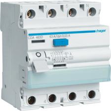 Chránič proudový bezšroubový Hager CDS425D 6 kA 4pól 25 A