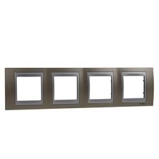 Rámeček čtyřnásobný, Unica Top, onyx copper/aluminium
