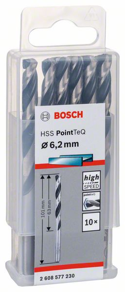 Vrták do kovu Bosch HSS PointTeQ 6,2×63 mm 10 ks