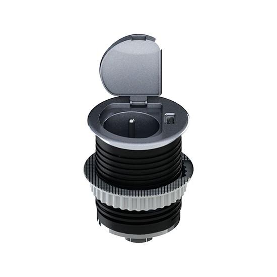 Zásuvka vestavná kruhová Solight, 1× 230 V, 1× USB, stříbrná