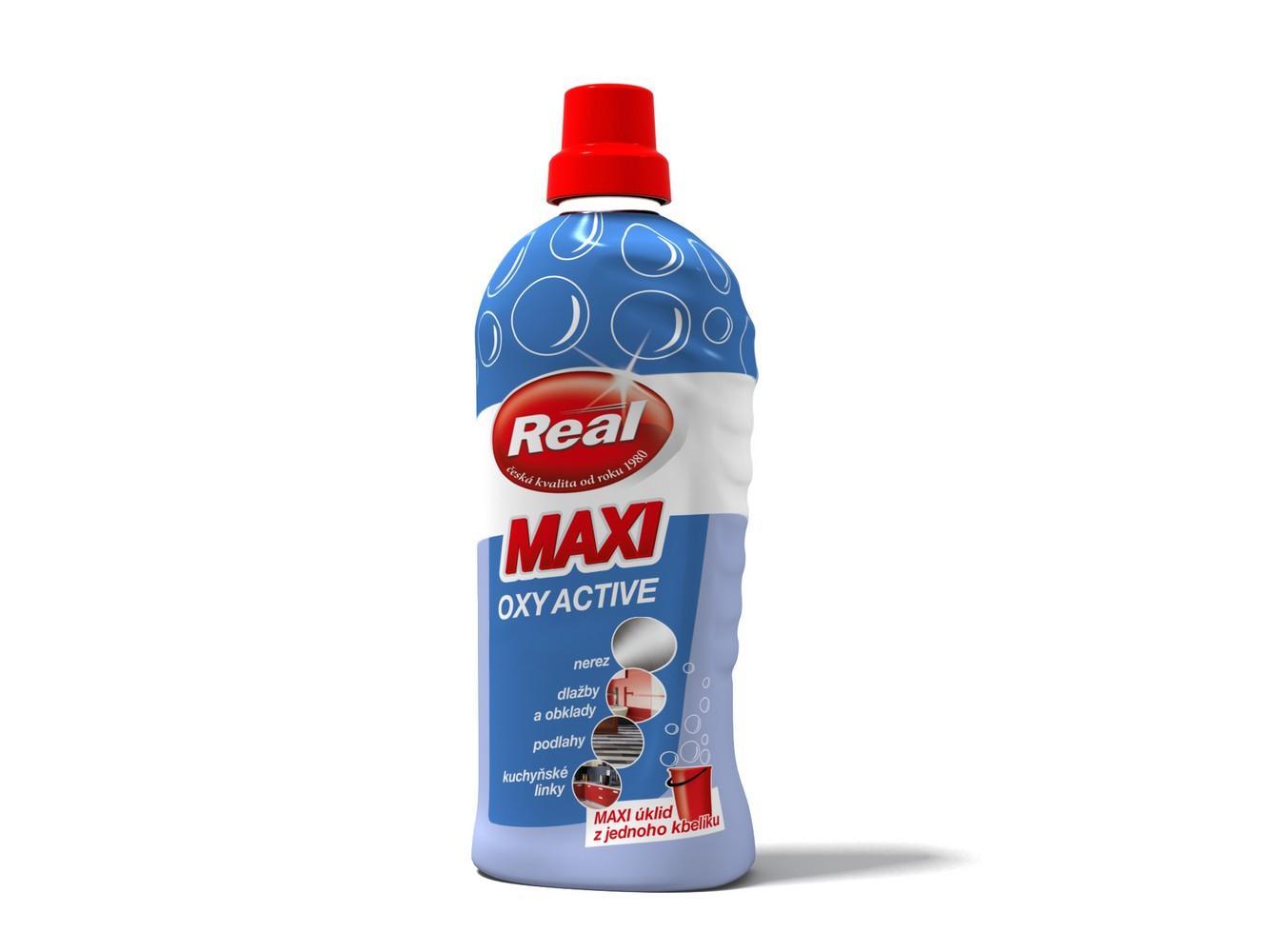 Čistící prostředek na nerez a povrchy REAL maxi oxy active 1 kg, cena za ks