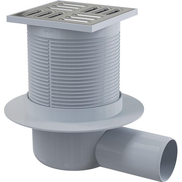 Podlahová boční vpust APV1 105×105/50 mm s nerezovou mířžkou a vodní zápachovou uzávěrou