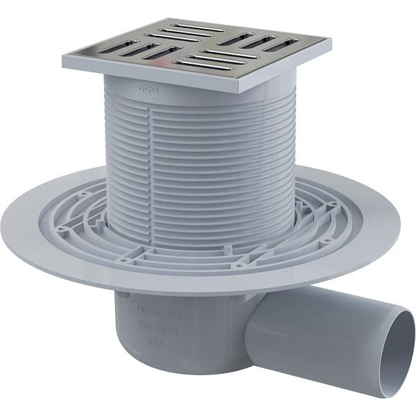 Podlahová boční vpust APV101 105×105/50 mm s nerezovou mřížkou a vodní zápachovou uzávěrou