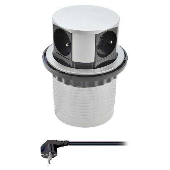Zásuvka výsuvná kruhová Solight, 4× 230 V, stříbrná