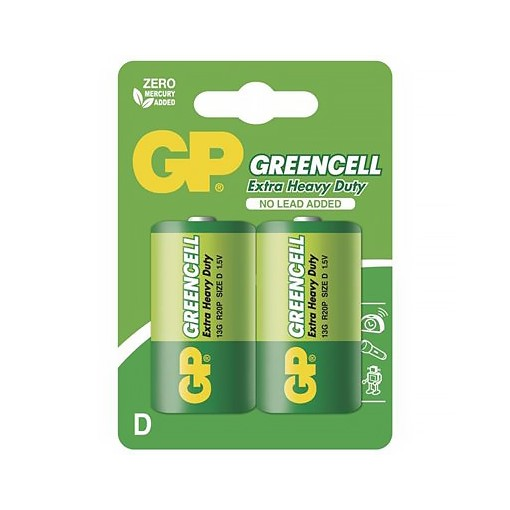 Baterie R20 D, GP Greencell