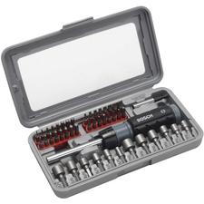 46dílná sada šroubovacích bitů a nástrčných klíčů se šroubovákem