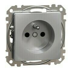 Zásuvka Schneider Sedna Design jednonásobná aluminium