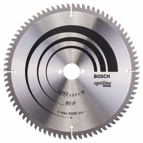 Kotouč pilový Bosch Optiline Wood 250×30×2,2 mm 80 z.