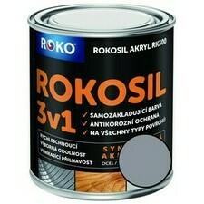 Barva samozákladující Rokosil akryl 3v1 RK 300 šedá past. 0,6 l