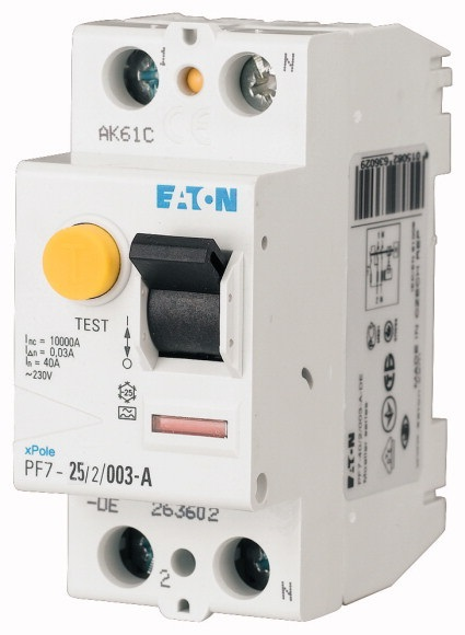Chránič proudový Eaton PF7-25/2/003 10 kA 2pól 25 A