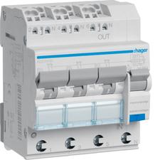 Chránič proudový bezšroubový s jištěním Hager ADZ310D 6 kA 4pól 10 A
