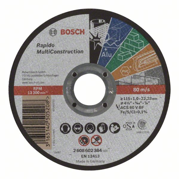 Kotouč řezný korundový Bosch Rapido Multi Construction 115×22,23×1 mm