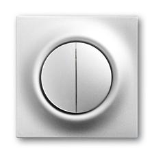 Kryt spínače s děleným tlačítkovým ovladačem Impuls saténová stříbrná