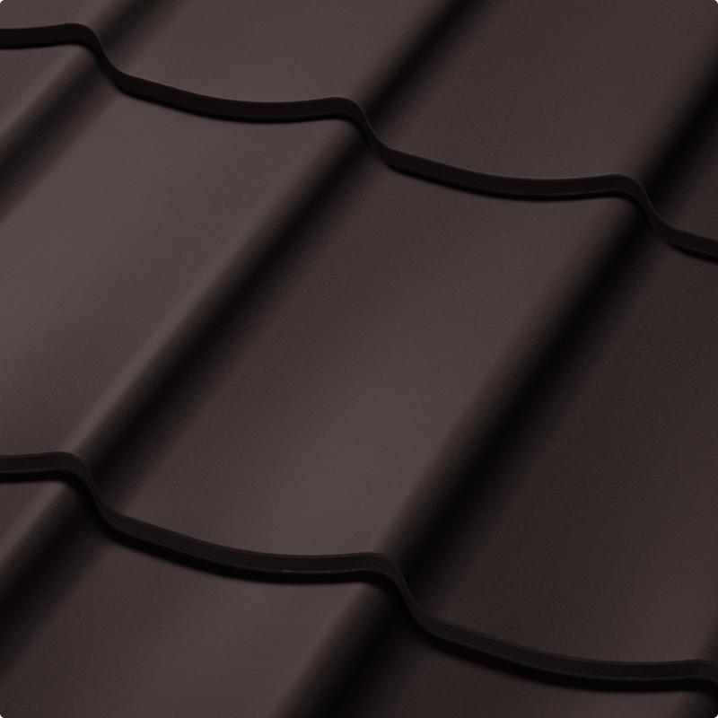 Velkoformátová profilovaná plechová střešní krytina SATJAM TREND SP25 RR032 tmavě hnědá