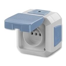 Zásuvka Variant, bezšroubová, víčko, průběžná montáž, modrá