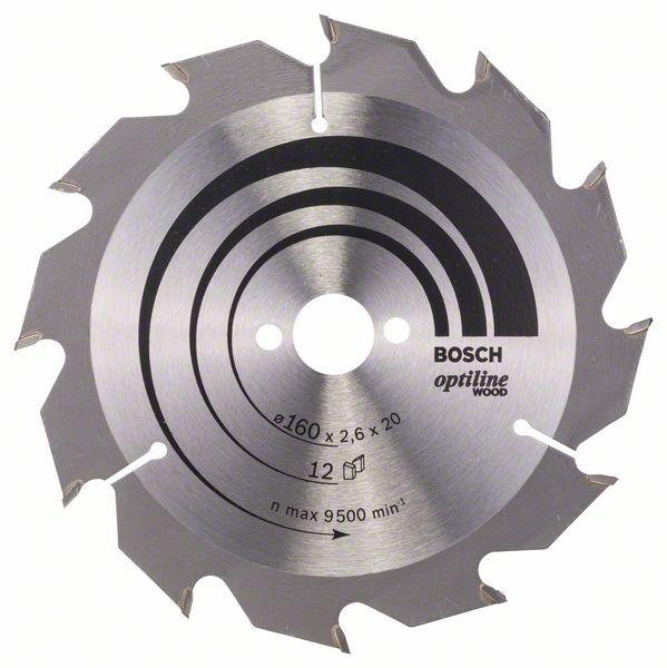 Kotouč pilový Bosch Optiline Wood 160×20/16×1,6 mm 12 z.