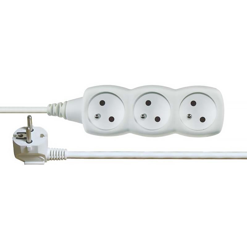 Kabel prodlužovací PVC bílý 230 V 2m/3 zásuvky