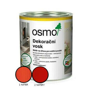 Vosk dekorační Osmo 3104 intenzivní červený RAL 3000 0,375 l