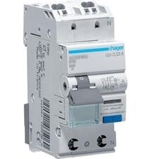 Chránič proudový bezšroubový s jištěním Hager ADS906D 6 kA 2pól 6 A