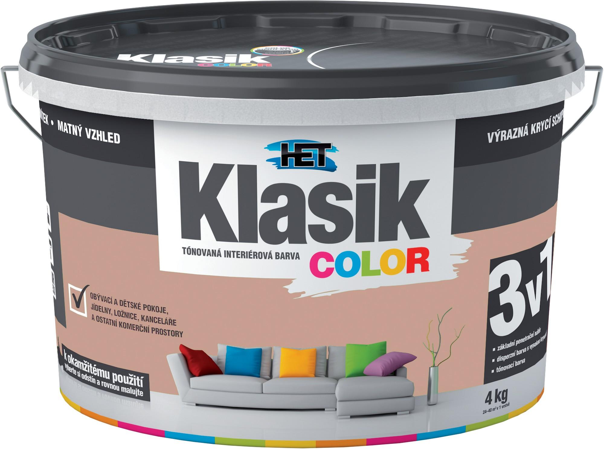 Malba interiérová HET Klasik Color hnědý karamelový, 4 kg