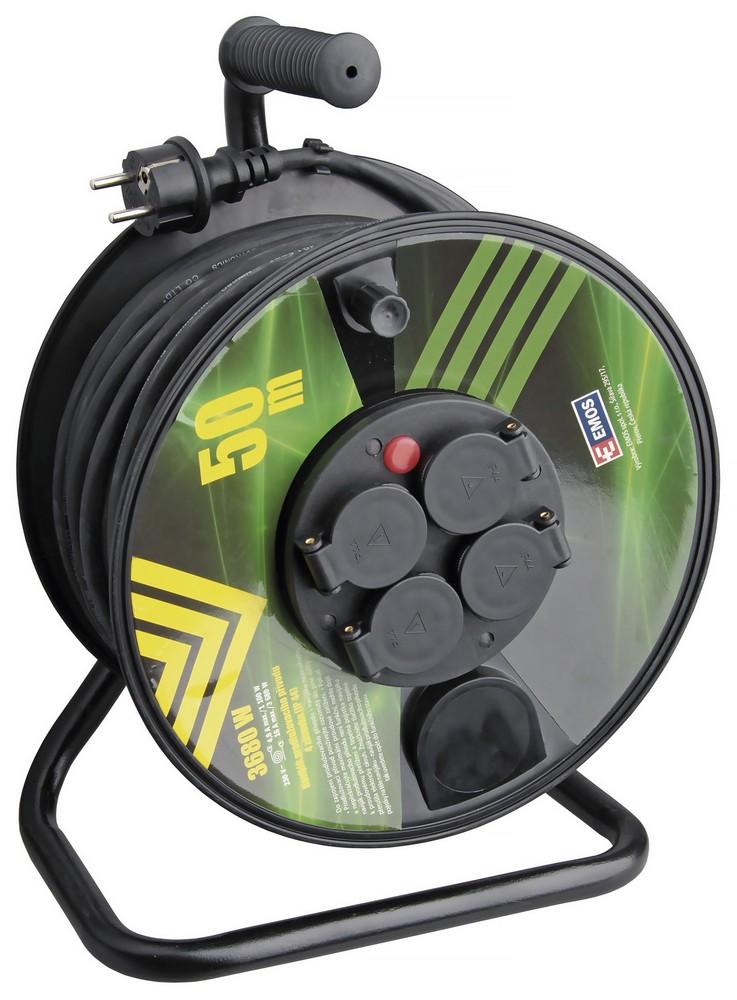 Kabel prodlužovací pryžový na bubnu 3x1,5 mm2 230 V 4 zásuvky 50 m