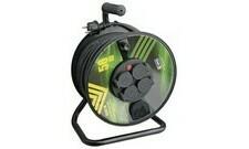 Kabel prodlužovací, pryž, buben 3×1,5mm2 230V 4 zásuvky 50m