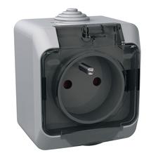 Zásuvka Schneider Cedar, šedá, čirá, IP 44, povrchová
