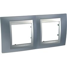 Rámeček dvojnásobný, Unica Top, metal grey/aluminium