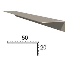Rohová lišta z poplastovaného plechu Viplanyl 20×50 mm, r. š. 70 mm (vnější)