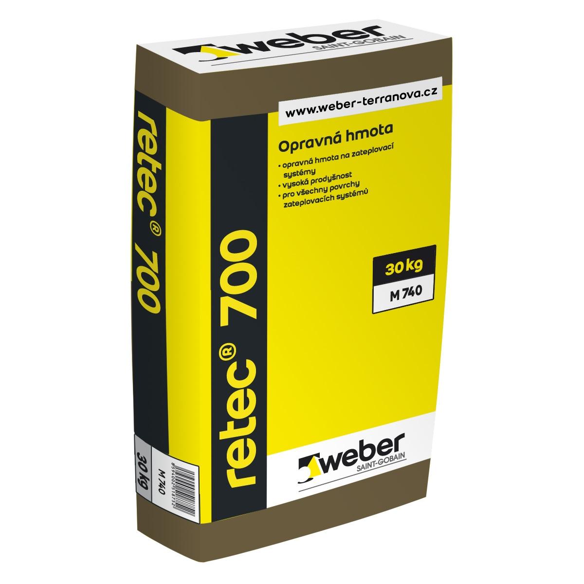 Lepící a stěrkový tmel Weber.therm retec 700 na opravu zateplovacích systémů, 30kg