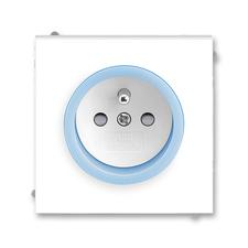 Zásuvka Neo, bezšroubová, clonky, bílá/ledová modrá