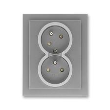 Zásuvka dvojnásobná natočená s ochrannými kolíky, s clonkami Neo ocelová / titanová