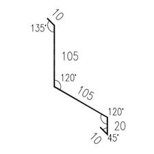 Lemování zdi rovnoběžné s okapem RS250Q-120 SP25 RAL8017 0,50mm 2bm