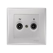 Zásuvka kompletní TV/R koncová, Sedna aluminium