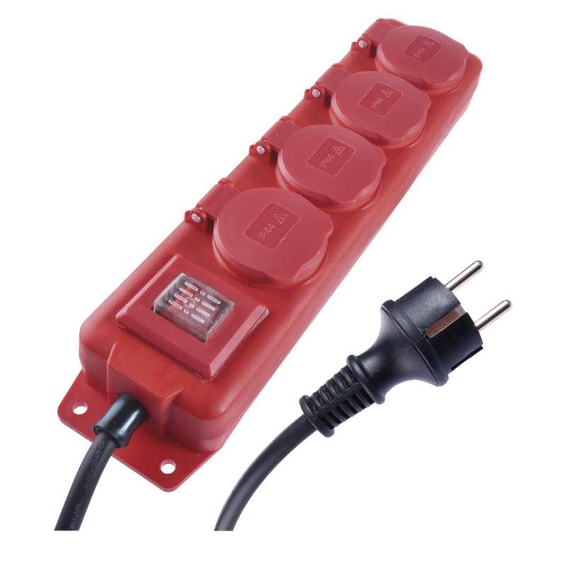 Prodlužovací kabel gumový, 4 zásuvky, 3m, 1,5 mm2, červený