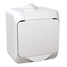 Zásuvka Schneider Cedar, bílá, IP 44, povrchová