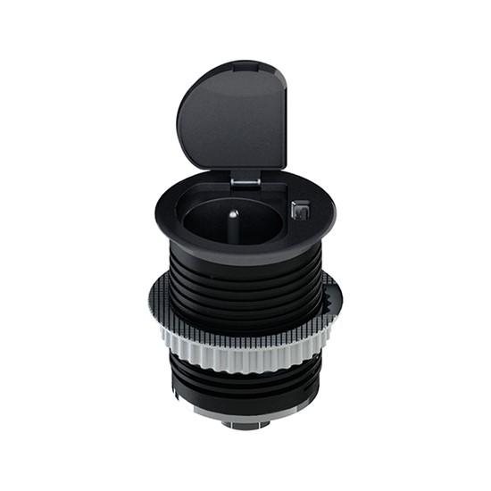 Zásuvka vestavná kruhová Solight, 1× 230 V, 1× USB, černá
