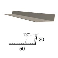 Koutová lišta z poplastovaného plechu Viplanyl 20×50 mm, r. š. 70 mm, úhel 100-110° (vnitřní)