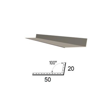 Koutová lišta z poplastovaného plechu Viplanyl 20×50 mm, r. š. 70 mm (vnitřní)