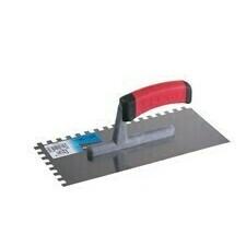Nerezové zubaté hladidlo 280x130 mm s gumovou rúčkou, zub 10 mm
