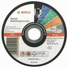 Rovný rezací kotúč Bosch Rapido Multi Construction, priemer 125 mm, hrúbka 1 mm (25ks/obj)