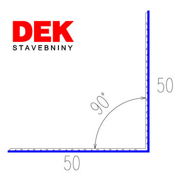 VIPLANYL PVC poplastovaná vnútorná kútová lišta 50×50 mm, uhol 90°, r.š. 100 mm / 2 m