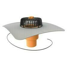 Vyhrievaný zvislý strešný vtok TWE 110 PVC S s integrovanou PVC manžetou