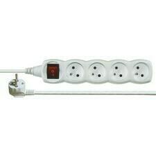 Kábel predlžovací PVC biely 230 V 3 m / 4 zásuvky s vypínačom