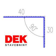 VIPLANYL PVC poplastovaná vonkajšia kútová lišta 30×40 mm, uhol 90°, r.š.70 mm / 2 m