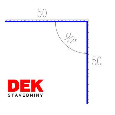 VIPLANYL PVC poplastovaná vonkajšia kútová lišta 50×50 mm, uhol 90°, r.š. 100 mm / 2 m